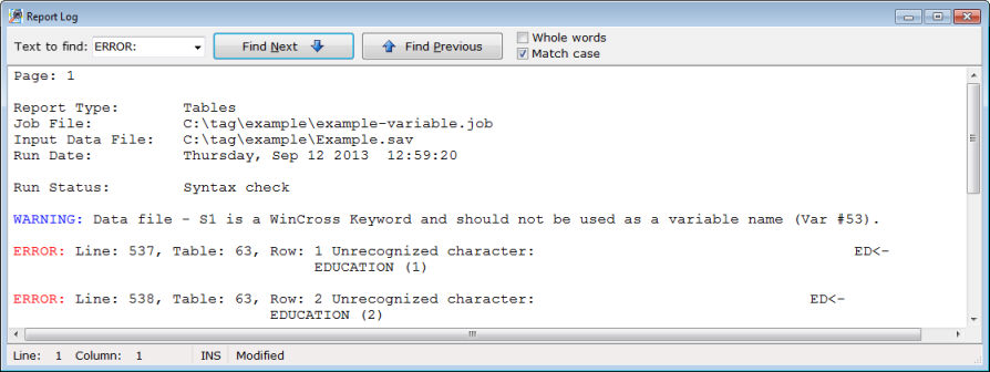 Logic syntax error messages