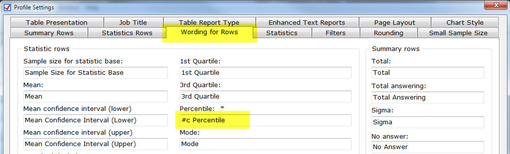 Profile Settings|Wording for Rows